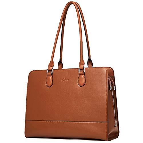 Damen Aktentasche Echtleder 15.6 Zoll Laptoptasche Vintage Businesstasche Groß Designer Frauen Schultertasche groß Kapazität Arbeitstasche Braun