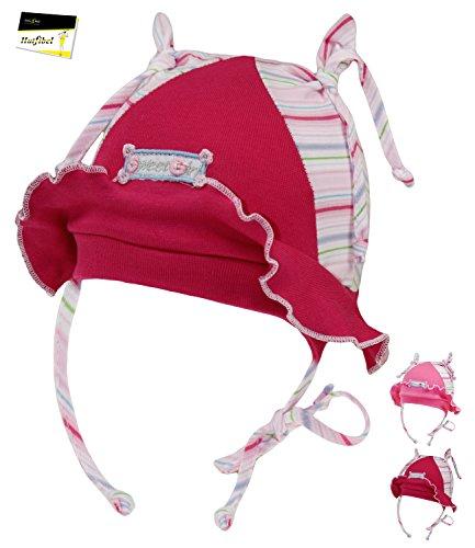 Fiebig Sommerflapper für Mädchen Kleinkindmütze Sommermütze Bindemütze Flapper Mädchenmütze bunt gestreift für Kinder (FI-87542-S16-MA0-30-45) in Rose, Größe 45 inkl. EveryHead-Hutfibel