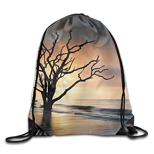 DHNKW Bone Yard Sunrise at Botany Bay Beach On Edisto Island Sc W Dead Live Oak Tree Driftwood In Ocean Travel Gym Backpack