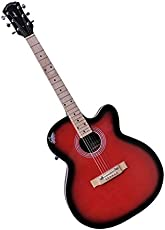 Signature Musicals Red Acoustic Guitar with black border and free gig cover