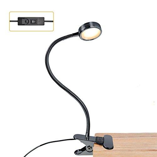 LUXJET Lámpara Flexo de pinza LED luz de lectura, 3 color de la iluminación, 2 modos de brillo regulable para estudio,Cama,luces infantiles de mesa y mesilla de noche de escritorio (negro)