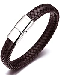 "Halukakah ""SOLO"" Men's Genuine Leather Bracelet Classic Style Titanium Clasp with Magnets 8.46""(21.5cm) with FREE Giftbox(Brown)"