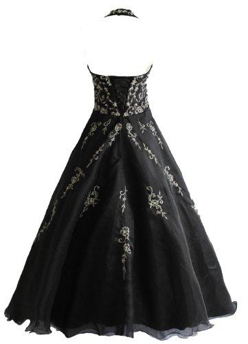 Robe de soirée noir tulle broderies laçage Noir