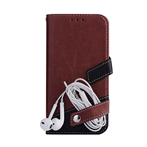 Litchi Texture Dual Farbe Stitching Pattern Synthetik Leder Tasche Cover Flip Stand Case mit Lanyard & Card Slots für Samsung Galaxy J3 2016 ( Color : Red ) Brown