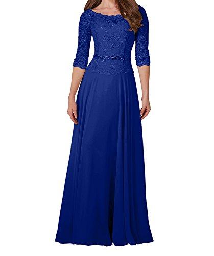 Charmant Damen Champagner Spitze Langarm Brautmutterkleider Abendkleider Ballkleider mit Guertel Lang Royal Blau