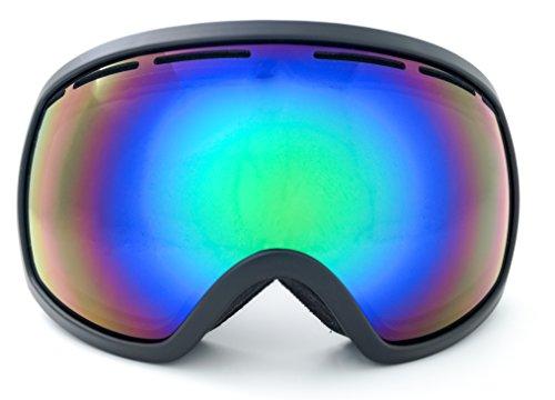 Skibrille verspiegelt St. Moritz 2017 unisex inkl. Eva-Box + Brillenputztuch | für Brillenträger geeignet | kratzfeste Schneebrille Snowboardbrille