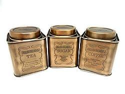 Birmingham Vintage Airtight Stainless Steel Tea Coffee Sugar Container, 300ml, 3 pieces (Brass)