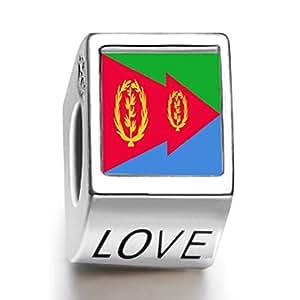 perle charm femme avec love du drapeau d'Eritrea