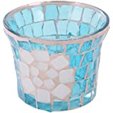 Segolike Stylish Crackle Pattern Blue Mosaic Glass Candle Tea Light Holder Home Room Desk Table Christmas Valentine's Day Decor Gift