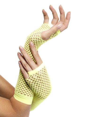 Sexy Handschuhe Netz Netzhandschuhe Lang Neon ()