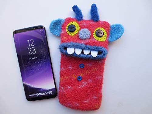 """L Smartphone Monster""""Rupert"""", gefilzt, Handy Tasche, Hülle, Samsung Galaxy S6, Samsung Galaxy S8, S9, J3 (2016), Handymonster, Filz, Wolle"""