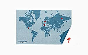 PALOMAR Pin World - Mappemonde 125,5 x 68 cm, Bleu