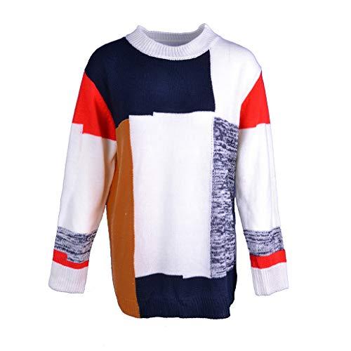 Mode LäSsig Rundhals Pullover Bluse Stricken Warme Pullover Bluse O-Neck Sweater Geometric Strick Patchwork Top Bluse (Coffee, L) (Erhalten Sie Es Zusammen Tshirt)