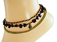 BrownBeans, 4 Layers Asian Style Black Stone Beads Macrame Cord Women's Anklet (CAKT5002)