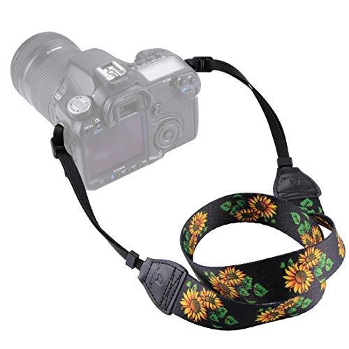 Movoja Kameragurt Sunflower | Universal DSLR Kamera SLR Tragegurt Schultergurt für Nikon Canon...