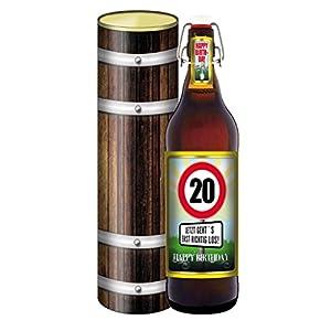 Geburtstag 20 Jahre - Herzlichen Glückwunsch - 1 Liter Flasche mit Bügelverschluss in der Geschenkdose im Holzdesign