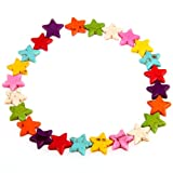 Ecloud Shop Hilo Abalorio Turquesa Estrella Colores 15mm Pulsera Collar