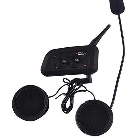 1200m Inalámbrica Bluetooth Intercomunicador Impermeable Casco de Mmotocicleta de BT Intercom Dúplex Completo de la Motocicleta / de 4 Jinetes de Esquí Auriculares con Función FM