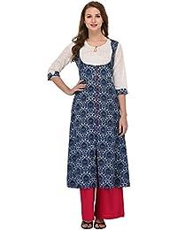 Amirah's Women White And Blue A-Line Latest Designer Wear Kurti And Palazzo Set
