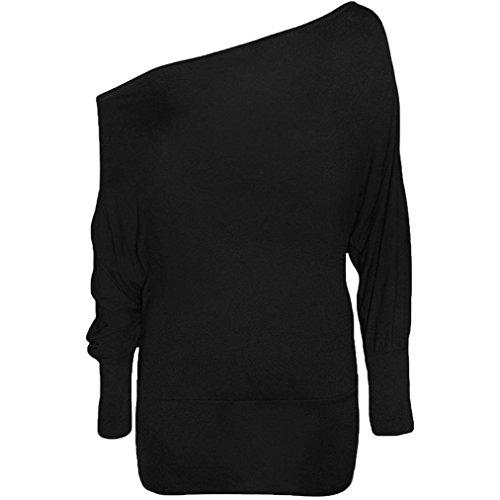 SUCES Damen Hemd Bluse Lang Sleeve Tuniken Einfarbig Chic Oberteile Frauen Langarmshirt Asymmetrisch Schulterfrei Sweatshirt Freizeit Elegant Longshirt Frühling Blusenshirt (Black, L) (Fit Polo Striped Shirt Slim)