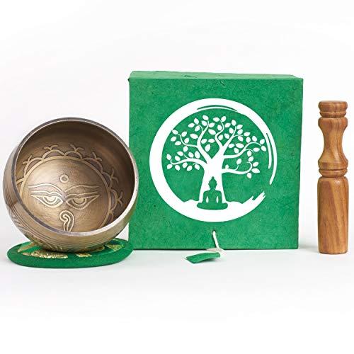 Klangschale aus Nepal – 200g – 8cm – für Schule – Meditation – Aufmerksamkeit – Achtsamkeit – Klangtherapie – 5 Metalle – Rosenholz Klöppel mit Leder – Set in Loktapapier Box handgeschöpft