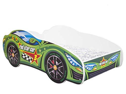 topbeds cama infantil diseño coche de carreras–Colchón incluido verde Talla:140 x 70 cm