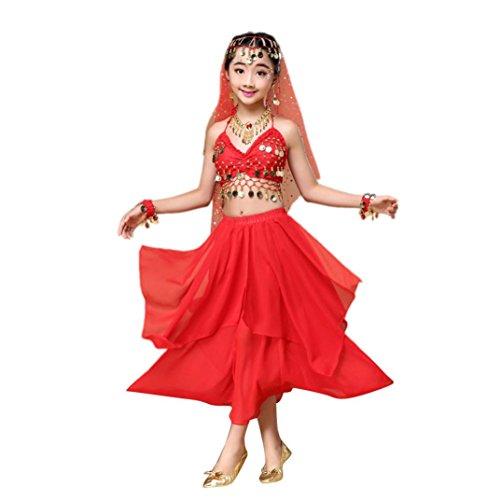 Hunpta Kinder Mädchen Bauchtanz Outfit Kostüm Indien Tanzkleidung Top und Rock (136~150cm, Rot) (Indien Kostüm Kinder Mädchen)