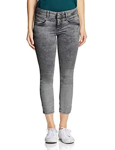 Street One Damen 372321 York Slim Jeans, Grey dip dye Washed, W31/L26 (Herstellergröße:31) Crinkle-dip-dye