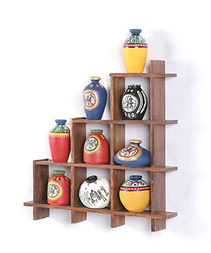 VarEesha Brown Wooden Ladder with Terracotta Pots- With Sheesham Wooden /Frame Unique Wall Hanging/ Wall Shelf/ Racks /Wall Décor /Gifts