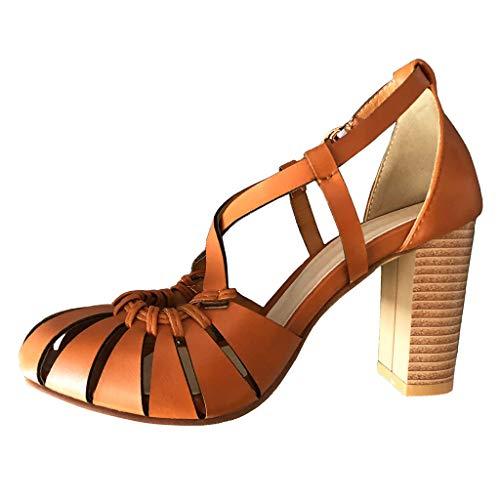 Scarpe da Donna Sandali Tacco a Blocco Fibbia Peep Toe Cinturino alla Caviglia Scarpe col Tacco Matrimonio Sera Tacco Alto