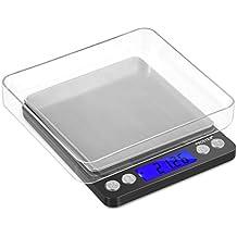 Proster Mini Escala Digital de Bolsillo 0.01-500g Escala Postal de Alta Precisión para Alimento de la Cocina, Pesar Gemas, Joyas y Otros Objetos Preciosos - Color Plata y Negro