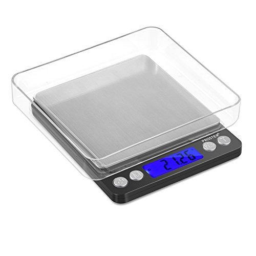 Proster Mini Bilancia Digitale Tascabile 0.01-500g Scala Postale/Bilancino Pesa Oro Gioielli Moneta/Bilancia per Cibo da Cucina - Colore Nero