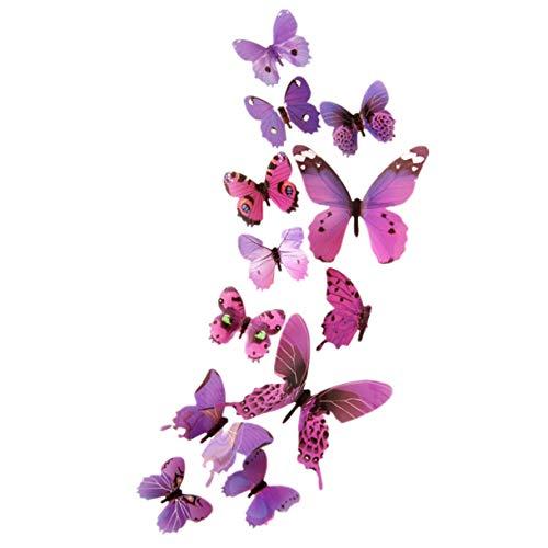 Floweworld 12 StüCke Schmetterling Wandaufkleber Aufkleber Wandaufkleber Home Dekorationen 3D Schmetterling Bunte Aufkleber Dekoration (Niedlichen Haar-accessoires)