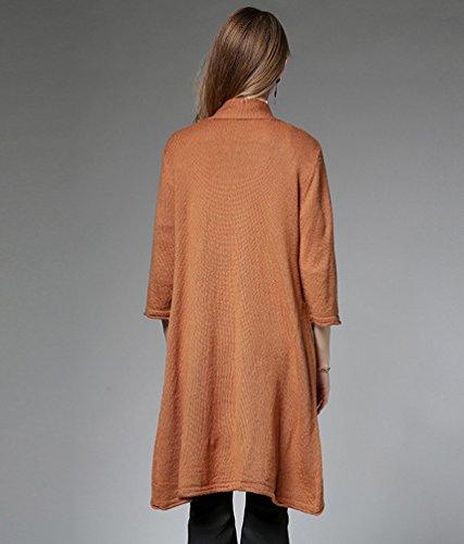Dooxi Femme Automne Elegant Manches 3/4 Tricoté Cardigan Loose Irrégulier Longue Cardigans Orange