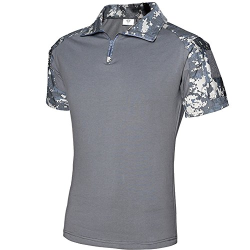 FY Tactical Tdu Men's Rapid Tec Shirt Short Sleeve Braun Multi Camo Jagd-Shirt (ACU, XL) (Bdu Camo Woodland Shirt)