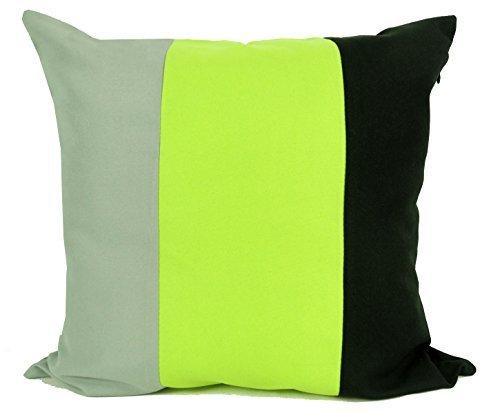 CUSHIONMANIA HBS Rideaux à œillets entièrement doublés Haute qualité 140 g/m² 3 Tons de Tissu Noir/Vert Citron Vert/Gris (43,2 x 43,2 cm Housse de Coussin Chaque)