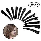 12 Stück Damen Haarspange, Vegena Plastik Haar Klammer Spange, krokodil Haarclips, Friseur Abteilklammern, Combi-Clip Karte aus Kunststoff Schwarz (12cm)