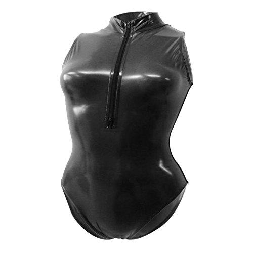 Fenteer Damen Hydrasuit Wetlook Badeanzug Bademode Schwimmanzug Metallic Unterhemd Jumpsuit Overall Dessous - schwarz, xl