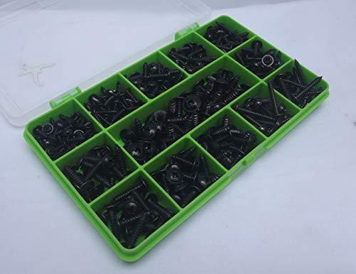 Selbstschneidende/Trim Schrauben, 340Stück, sortiert, schwarze Flansch-Position, schwarz-Oxid Teller, Nr. 6, Nr. 8 und Nr. 10,