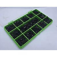Tornillos autorroscantes de cabeza pozi con arandela 340unidades, varios tamaños, color negro núm. 6, 8 y 10, placa negro óxido