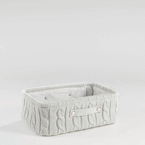 Homea Lainy Korb aus Strick und Kunststoff 38x 26x 13 cm, Kunststoff, Natur, 38 x 26 x 13 cm