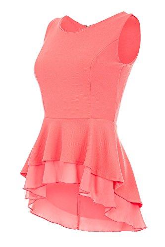 Laeticia Dreams Damen Bluse Schößchen S M L XL, Größe:42.XL, Farbe:Koralle