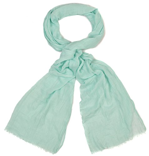 INTERMODA XXL Uni Schal unifarben transparent, leichtes Crinkle Tuch, Unisex, Mint Mintgrün Hellgrün