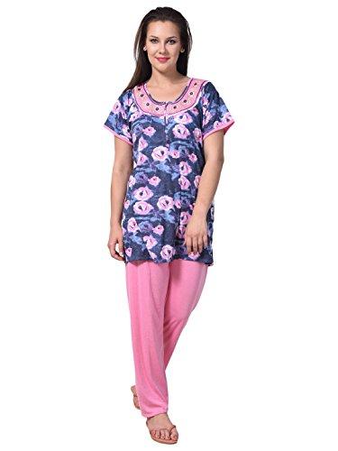Noty???? Women\'s Hosiery Cotton Nightwear with Bottoms(RSNS1, Pink, XXL)