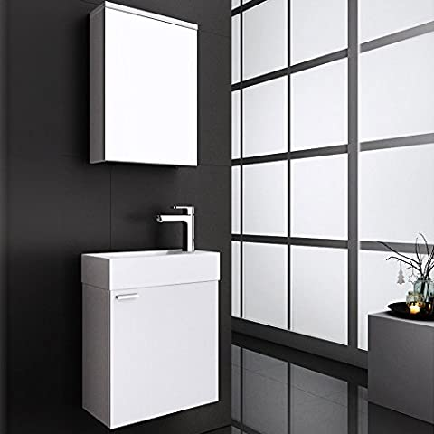 Home Deluxe | Badmöbel-Set | Langeoog | Weiß | inkl. Waschbecken und komplettem Zubehör