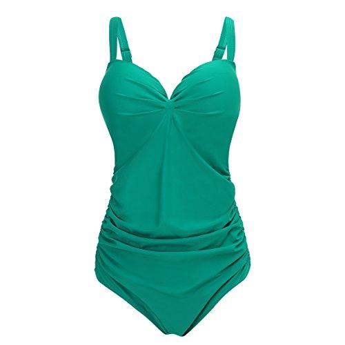 Shangrui Damen Bademode Series Dickere Feste Farbe Schlinge Strand Badeanzug(FZWH7705) 11Grün