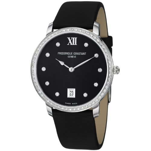 Frederique Constant Women's FC-220B4SD36 Slim Line Black Satin on Leather Strap Watch