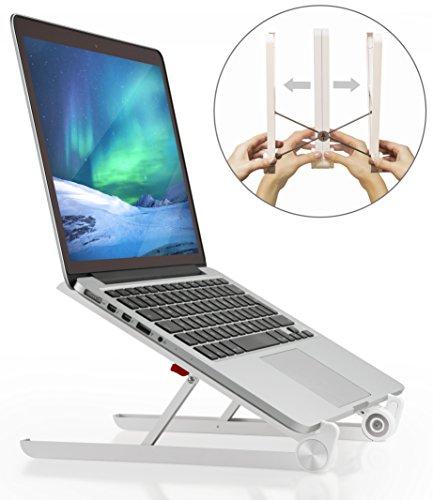 Lexitech Laptop-Ständer, tragbar, verstellbar, Schreibtisch-Halterung, Belüftung, ergonomisch, Augenhöhe, leicht, kompakt, universale Passform, Ständer für Mac, Dell, HP, iPad und Tablet, weiß (Ergonomische Schreibtisch Laptop)