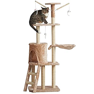 Milo & Misty 3 Platform Cat Tree Scratching Post Activity Centre - Kitten Furniture Playhouse with Sisal Covered Scratching Posts & Dangling Mice Toys