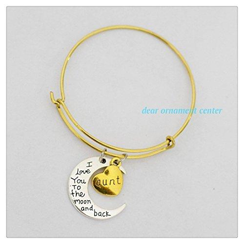 I Love You To The Moon and Back Bracciale oro Zia Charm Bracciale impilabile bracciale regolabile espandibile Bracciale personalizzato
